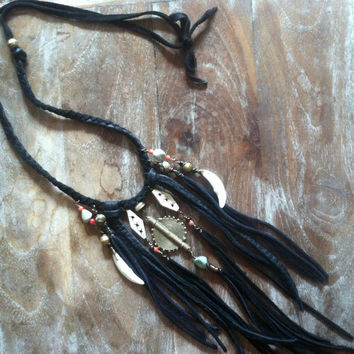wild sage fringe necklace   //  talisman, coyote medicine, tribal necklace, fring, boho necklace, festival necklace