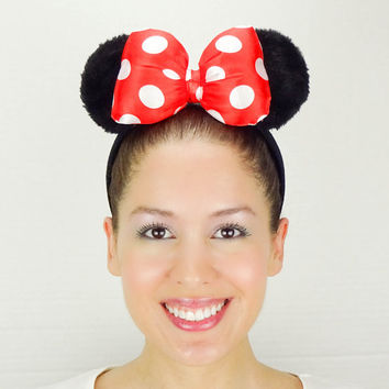 Minnie Mouse Ears Mickey Mouse Ears White Red Polkadots Minnie Ears Mickey Ears Minnie Mouse Bow Poofy Ears Minnie Mouse Outfit Minnie Bow