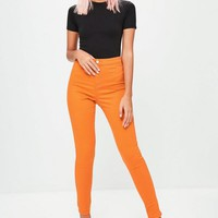 Missguided - Orange Vice High Waisted Skinny Jeans
