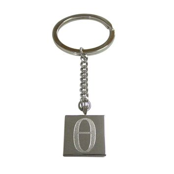 Silver Toned Etched Greek Letter Theta Pendant Keychain