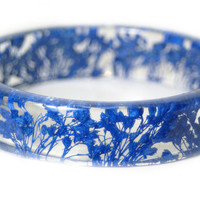 Bracelet -Real Dried Flower Jewelry-  Resin Bangle -Blue Flower Bracelet- -Blue Bracelet- -Resin Jewelry -Flower Jewelry