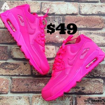 NIKE AIR MAX 90 2007 GS WOMENS SHOES HYPER VIVID PINK GIRLS [345017 601]