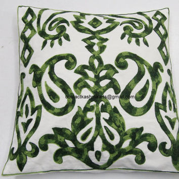 Green Pillow Cover/Embroidered Throw/Euro Sham/Cushion/16x16/20x20 inch/Floral/Round/Accent/Oblong/Shamrock/Emerald/Paisley/leafy/dark/light