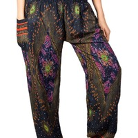 Boho Harem Yoga Pants - Floral Dark Blue