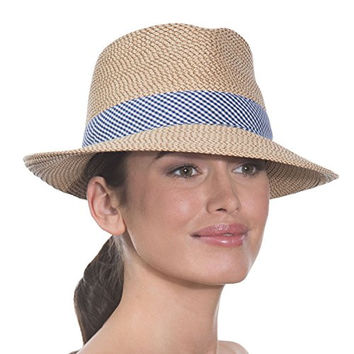 Eric Javits Women's Luxury Squishee Classic Hat (Peanut/Blue Check)