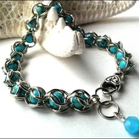Blue Turquoise Gemstone Silver Handmade Chainmaille Bracelet