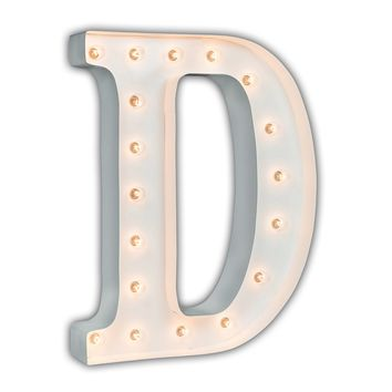 """24"""" Letter D Lighted Marquee Letters (White Gloss)"""