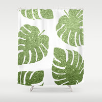 Glitter Monstera Leaves Shower Curtain by avenger