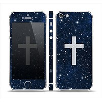 The Vector White Cross v2 over Bright Starry Sky Skin Set for the Apple iPhone 5