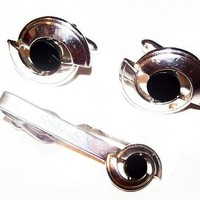Tie Bar Cuff Link Set Black Onyx Silver Metal Men's Jewelry Fathers Day Vintage