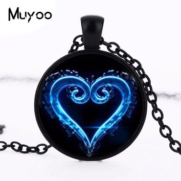 Fashion 2016 Kingdom Hearts emblem pendant necklace glass symbol occult personality charms jewelry pendants necklaces HZ1