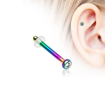 Colorline Press Fit Gem Top Piercing Stud with O-Rings