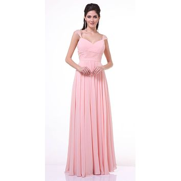 Beaded Cap Sleeves Sweetheart Bridesmaid Dress Blush Chiffon
