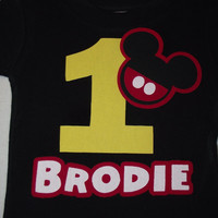 Mickey Mouse Minnie Mouse - Red Black Yellow Disney Birthday Family Custom T-Shirt Personalized Applique