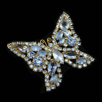Pastel Blue Butterfly Pin Prong set Frosted & Opaque Light Blue Faceted Rhinestones Gold Tone Vintage 1950s Winged Flying Insect Brooch