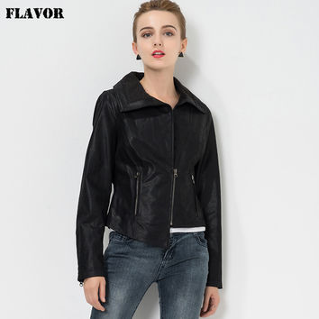 Women's Genuine Motorcycle Leather jacket real leather jacket motorcycle coat women biker jackets