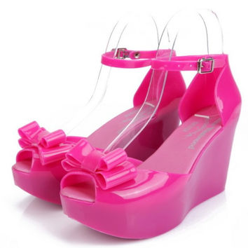New 2013 Discount Bow Melissa Jelly Shoes Wedges High Heeled Platform Women Open Toe Heels Ankle Strap Sandals Free Shipping