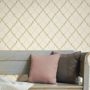Brewster Heirloom Harlequin Trellis Wallpaper - Light/Pastel Grey