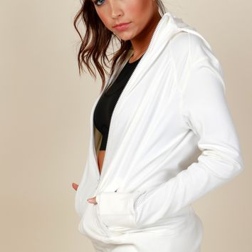 Swiftly Moving Active Wear Jacket White