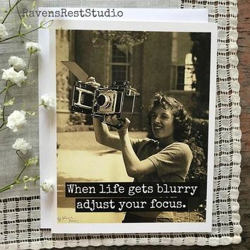 When Life Gets Blurry Adjust Your Focus Funny Vintage Style Happy Birthday Card Friends Birthday Greeting Card FREE SHIPPING