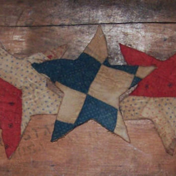 Primitive Star Ornaments - Americana Decor - Antique Quilt Stars - Red White Blue
