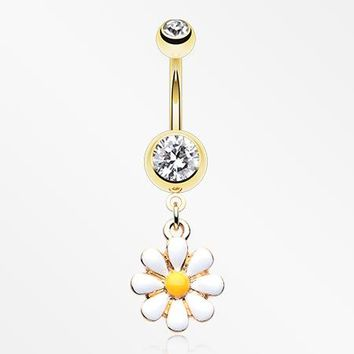 Golden Spring Daisy Sparkle Belly Button Ring