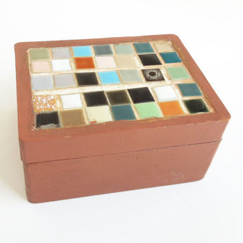 Reddish brown wood trinket box with colorful tiles - Colorful trinket box with tiled lid - Wedding favor bridal-shower favor TB3