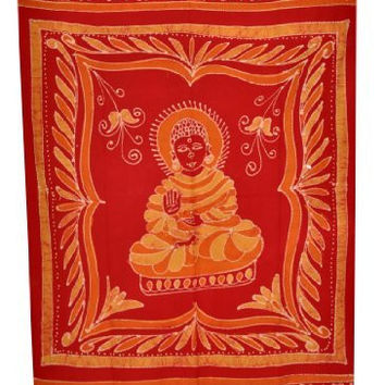 Large Bohemian Buddha Tapestry Wall Hanging Tablecloth Bed Spread, Free Buddha Eye Magnet