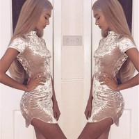 Golden Glow Ladies Bodycon Velvet Crush Dress