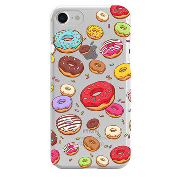 Donuts transparent phone case, iPhone case, iPhone 6 case, iPhone 7 case, iPhone 8 case, iPhone X case, Samsung case, clear case, phone case
