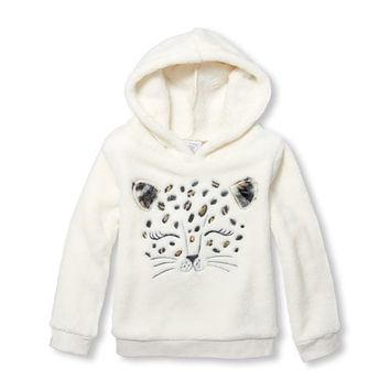 Baby And Toddler Girls Long Sleeve Active Faux Fur Hooded Pullover