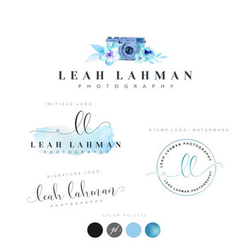 Premade Branding Kit, Photography logo, Blog logo, Watermark, Blue logo, Logo Design, Stamp, Branding kit, Logo package,