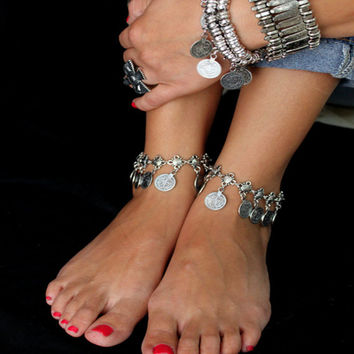 New Vintage fashion bohemia women jewelry silver coin anklet statement jewelry