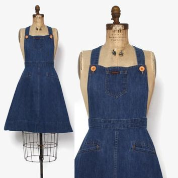Vintage 70s DENIM Dress / 1970s Blue Jeans Bib Overalls Suspender Dress