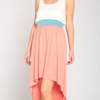 Coraline Tailing Dress in Coral/Ivory