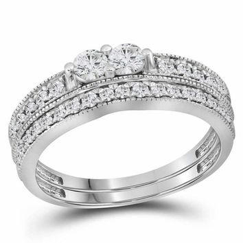 14kt White Gold Women's Round Diamond 2-Stone Bridal Wedding Engagement Ring Band Set 3-4 Cttw - FREE Shipping (US/CAN)