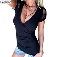 2017 ZANZEA Womens V Neck Lace Crochet Floral Splice Slim Shirt Short Sleeve Casual Solid Tops T-Shirt Tees Plus Size