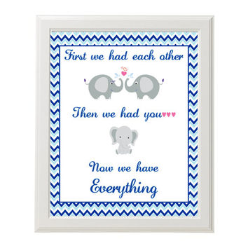 First We Had Each Other Nursery Print Instant Download Navy and Baby Blue Chevron Elephants