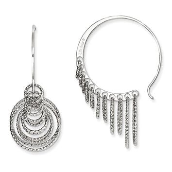 Laser Cut Chandelier Circle Threader Hoop Earrings in Sterling Silver
