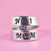 NO.1 MOM - Hand Stamped Spiral Ring, Pure Aluminum Ring, Mother Day Gift
