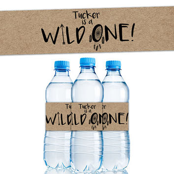 Wild One Water Bottle Labels - Wild ONE Party Favors - Boy 1st Birthday Water Labels - Personalized Water - Rugged - Kraft - Stickers