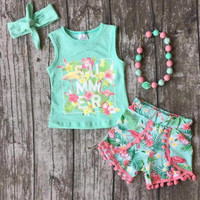 RTS-4pc Flamingo Outfit with Headband and Chunky Necklace,