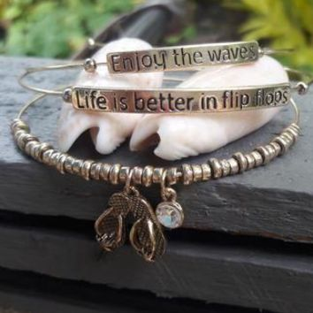 Life Is Better With Flip Flops Charms Bracelet Set