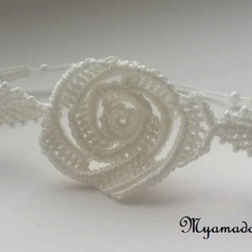 White  rose bracelet / free shipping