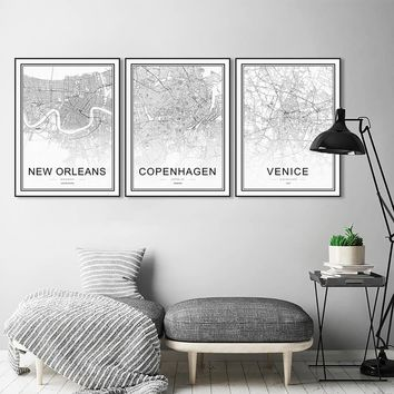 Black and White World City Maps Munich Stockholm Posters Prints Scandinavian Living Room Wall Art Pictures Decor Canvas Painting