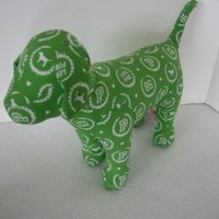 Victoria's Secret Pink Green Stuffed Dog