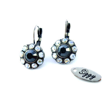 Metallic gray Daisy Flower Swarovski crystal earrings, Jet hematite and crystal moonlight, chic Siggy crystal earrings