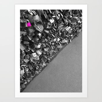 Paris pink love lock black and white with color Art Print by Mr Splash