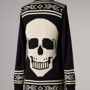 Black and White Skull Sweater - Featuring Aztec Detailing