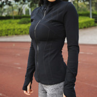 """lululemon""Yoga long-sleeved absorb sweat wet coat for fitness Black"